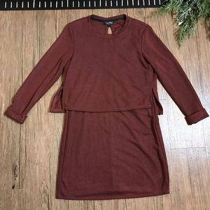 Topshop Linear Stripe Overlay Sweater Dress Red
